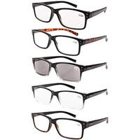 Men 5-Pack Spring Hinges Vintage Reading Glasses+2.25