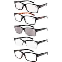 Men 5-Pack Spring Hinges Vintage Reading Glasses+2.50