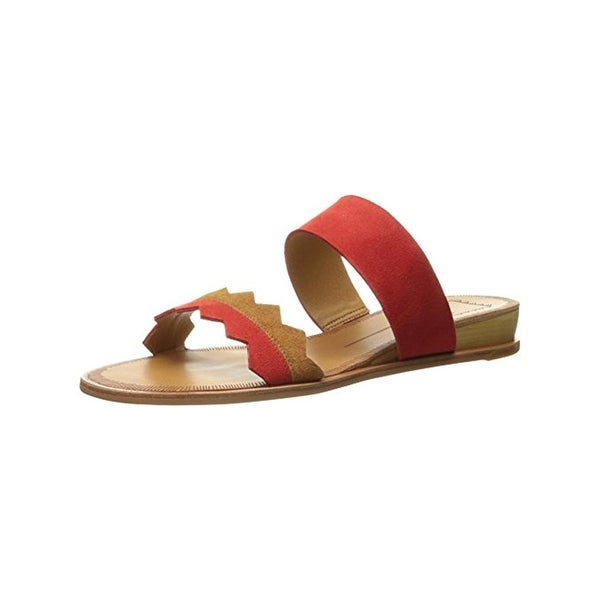 Dolce Vita Womens Pacer Slide Sandals Suede Mini Wedge