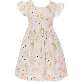 Unicorn Print Slip-on Dress for Little Girl Off White 201249