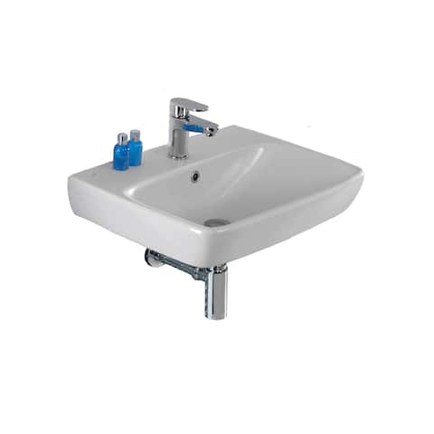 "Bissonnet E14241 Energy 22"" Rectangular Vitreous China Wall Mounted Bathroom Sink with Overflow and One Faucet Hole - White"