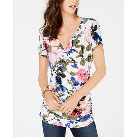 INC Women's White Ivory Size Large L Floral Ruche Pintuck Blouse