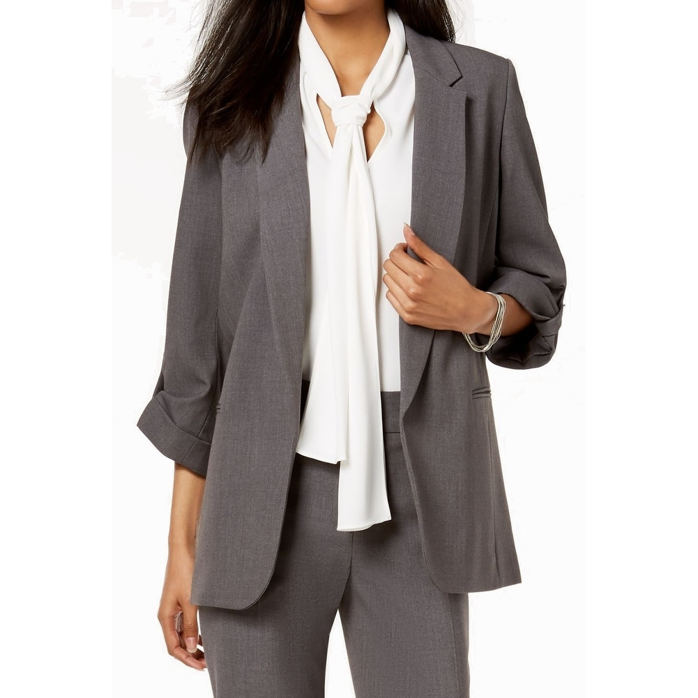 NINE WEST Womens 4 Button Shirt Collar Mini Windowpane Jacket