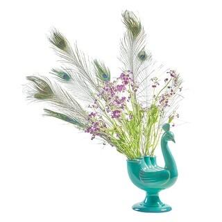 "Peacock Figural Ceramic Vase - Pedestal Footed Teal 13"" Tall"