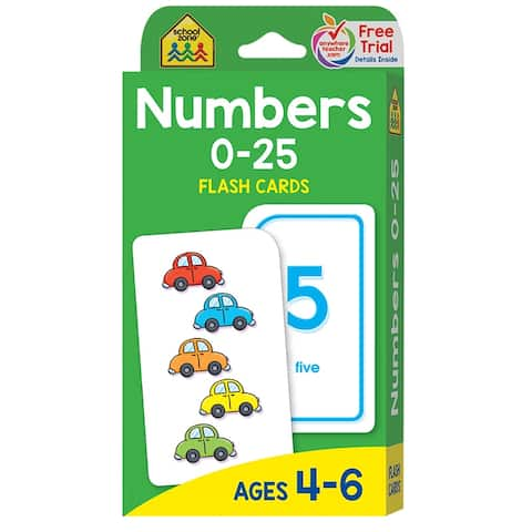 (12 Pk) Numbers 0-25 Flash Cards