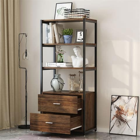 Bookcase with 2 Drawers Storage Cabinet Display Shelves
