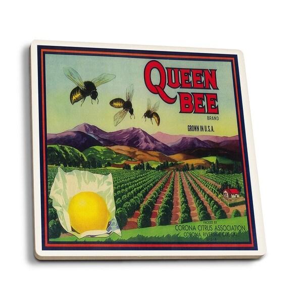 Queen Bee Lemon - Vintage Label (Set of 4 Ceramic Coasters)