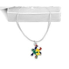 Autism Awareness Colored Puzzle Piece Necklace