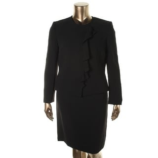 Tahari ASL Womens Ivana Ruffled 2PC Skirt Suit