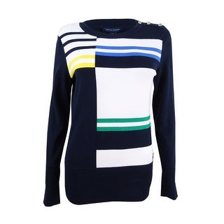 Tommy Hilfiger Women's Roadmap Intarsia Colorblocked Sweater - pacific multi