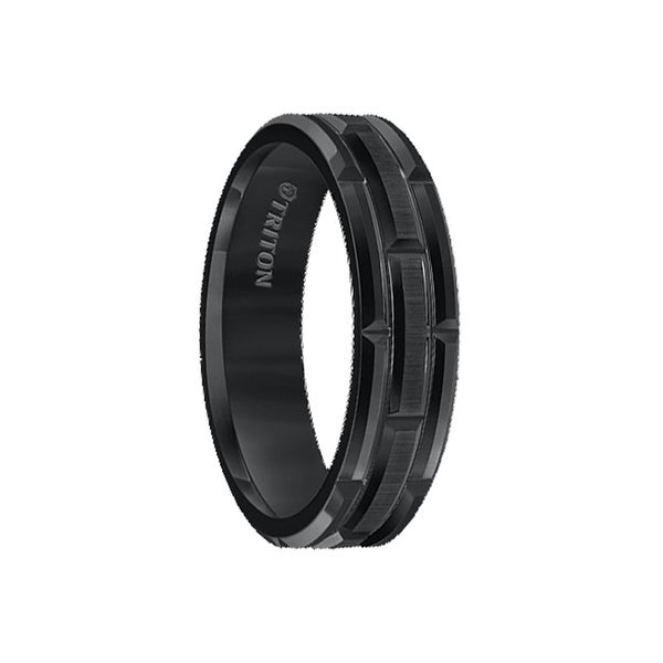 DWAYNE Black Tungsten Carbide Wedding Band with Cut Brick Motif and Satin Finshed Center by Triton Rings - 6mm