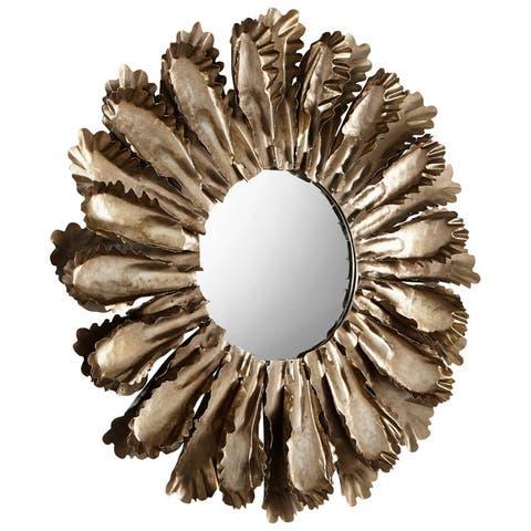 "Cyan Design Fluttering Leaves Mirror 7"" Diameter Fluttering Leaves Iron and Wood Mirror - Rustic Bronze"