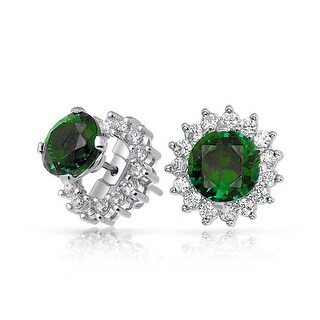 Bling Jewelry .925 Silver Green CZ Studs and Removable Jackets