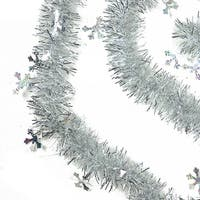 50' Traditional Silver Christmas Tinsel Garland with Holographic Snowflakes - Unlit