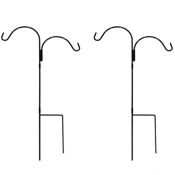 Sunnydaze Double Shepherd Hooks - Size Options Available - Black
