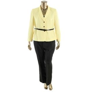 Tahari ASL Womens Petites Harry Herringbone 2PC Pant Suit