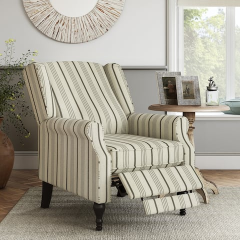 The Gray Barn Hale Linen Farmhouse Woven Stripe Wingback Push Back Recliner Chair