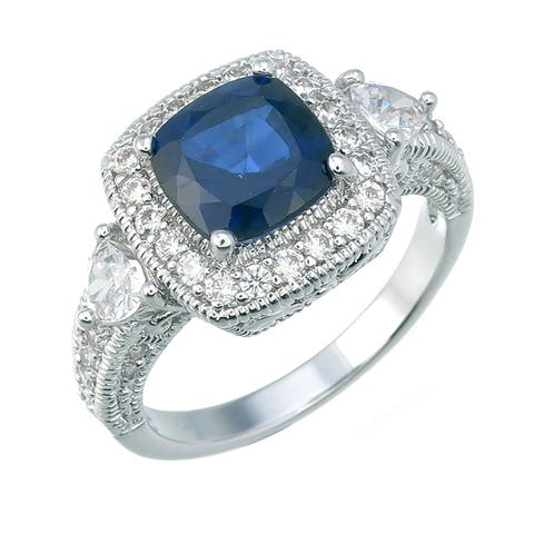 1.20 cttw Created Blue Sapphire Ring in Brass with Rhodium Plating Cushion Shape