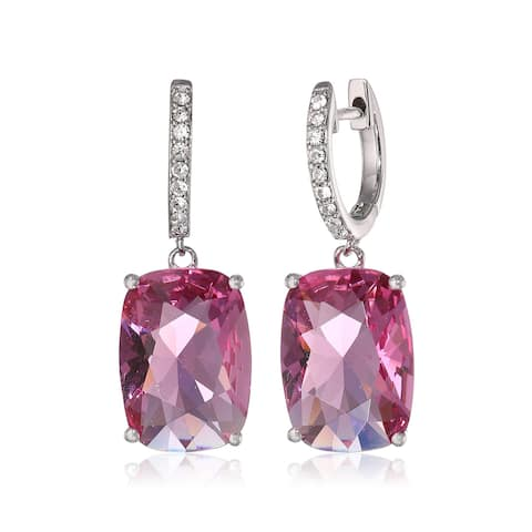 Crystaluxe Pink Cushion Drop Earrings with Swarovski Crystals in Sterling Silver