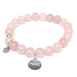 """Pink Rose Quartz Peace Silver Charm Lucy 7"""" Bracelet"""