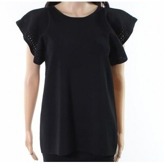 Ted Baker NEW Deep Black Womens Size 4 Frill-Sleeve Solid Blouse
