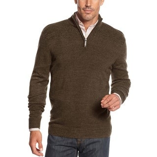 Geoffrey Beene Quarter Zip Mock Neck Sweater Coffee Brown Small S