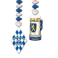 """Club Pack of 12 Blue and White German Oktoberfest Dangler Party Decorations 30"""""""
