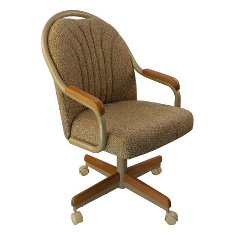 Caster Chair Company Britney Caster Arm Chair in Wheat Tweed Fabric