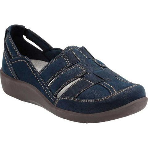 Clarks Women's Sillian Stork Slip-On Navy Synthetic