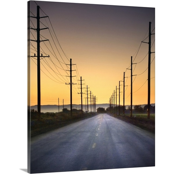 """""""Desert road and power lines at sunset in California desert."""" Canvas Wall Art"""