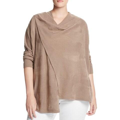 Love Scarlett Womens Cardigan Sweater Draped Jacquard