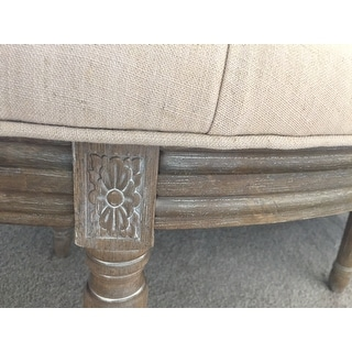 Lanier Tufted Rustic Semi Circle Beige Bench