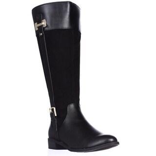 KS35 Deliee Wide-Calf Riding Boots, Black