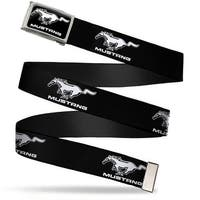 Mustang Logo Text Fcg Black White  Chrome Ford Mustang Black White Logo Web Belt