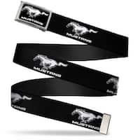 Mustang Logo Text Fcg Black White  Chrome Ford Mustang Black White Logo Web Belt