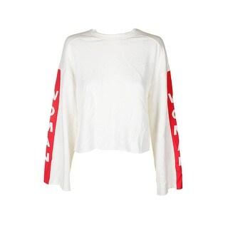 The Style Club Juniors White Red Bell-Sleeve Graphic Raw Hem Sweatshirt L