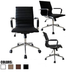 2xhome Black Designer Mid Back PU Leather Office Chair Ribbed Swivel Tilt Conference Room Boss Home Work Task Manager Desk Guest