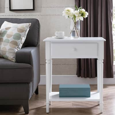Coastal Nightstand/Side Table with AC/USB Charger