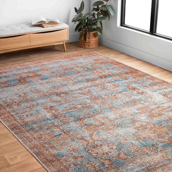 Alexander Home Luciano Distressed Botanical Indoor/ Outdoor Rug. Opens flyout.