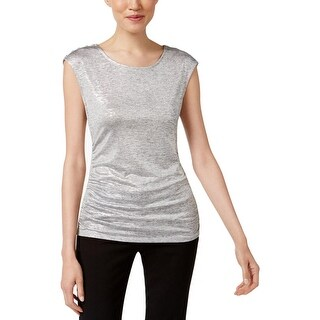 Calvin Klein Womens Casual Top Metallic Scoop Neck