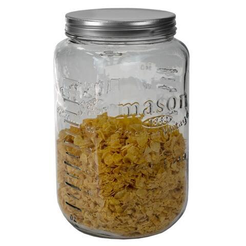 153.6 oz. X-Large Glass Mason Canister Jar, Clear - 153.6 oz