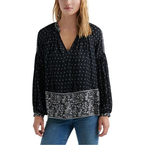 Lucky Brand Womens Floral Print Peasant Blouse