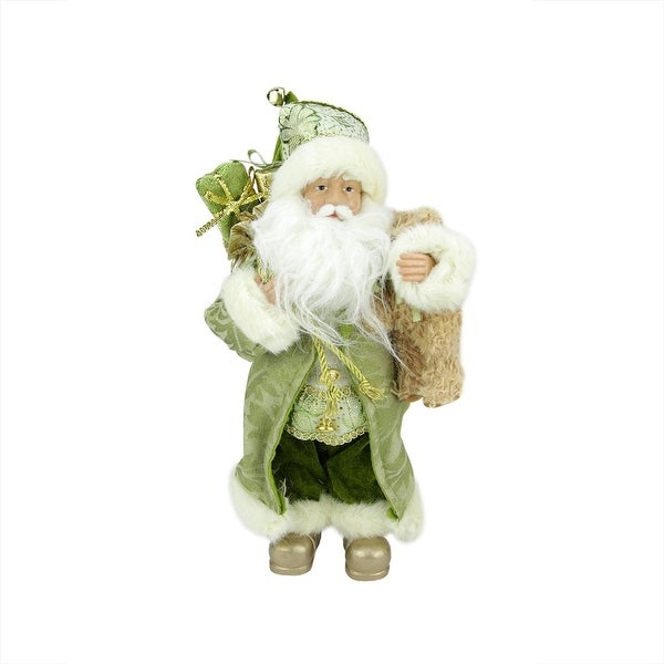 "12"" St. Patrick's Irish Standing Santa Claus Christmas Figure with Teddy Bear and Gift Bag - green"