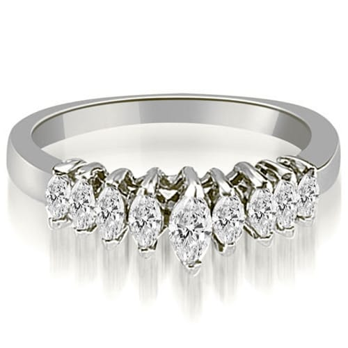 0.70 cttw. 14K White Gold Marquise Diamond 9-Stone Wedding Band