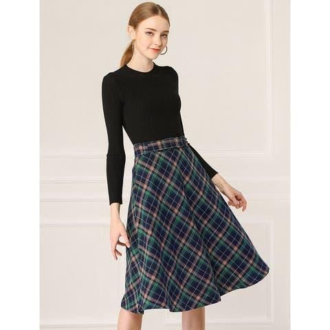 Allegra K Women's Plaid Checks Belted Swing Midi Skirt - Blue Green