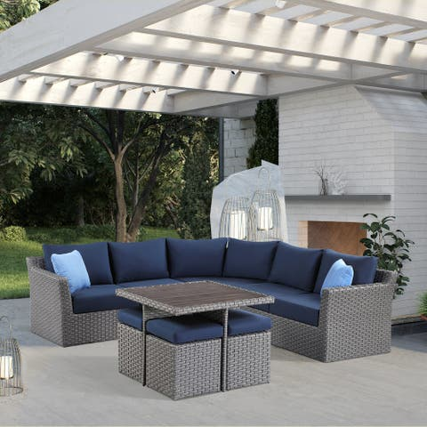 OVE Decors Maldives 8-Piece Sectional in Dark Gray and Solid Blue