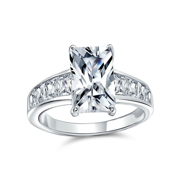 4CT Emerald Cut AAA CZ Solitaire Engagement Ring 925 Sterling Silver. Opens flyout.
