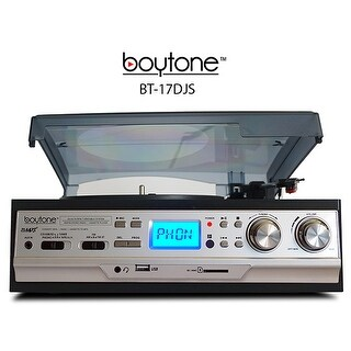 Boytone BT-17DJS 3-Speed Stereo Turntable 33/45/78 RPM with AM-FM Radio