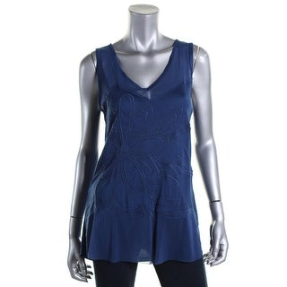 Cable & Gauge Womens Embroidered V-Neck Tank Top - M