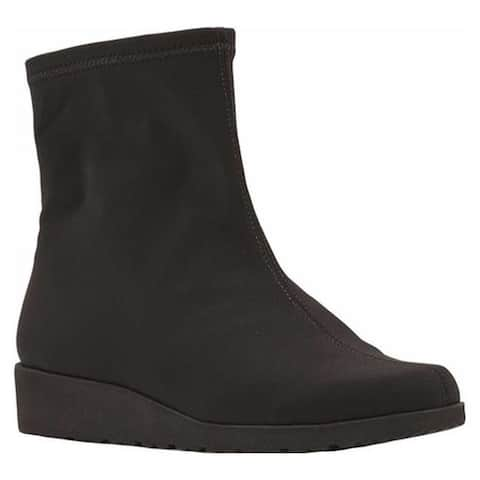 Walking Cradles Women's Feather Wedge Ankle Boot Black Fabric Stretch